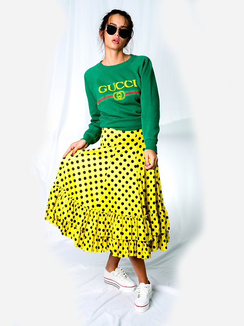 FUN Polka Dot Peasant Style Ruffle Skirt