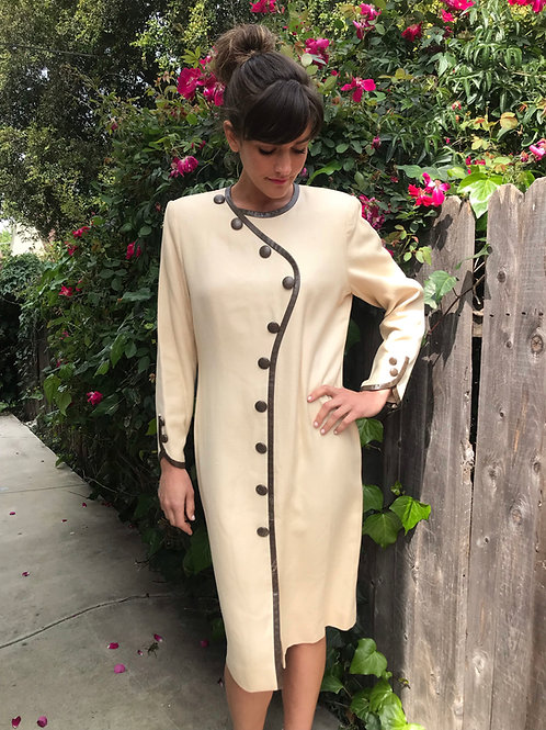 CAROLINA HERRERA Snake Skin Button Dress