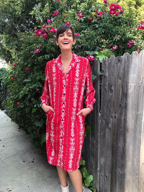 Red Royal Scroll Shirt Dress