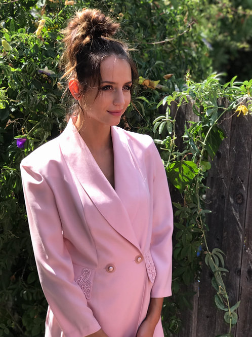 Pink Tuxedo Coat Dress