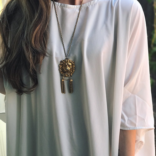 Lion Head Tassel Necklace