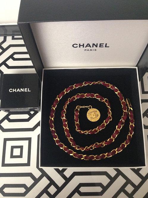 Ox-blood Chanel Belt w/ Medallion