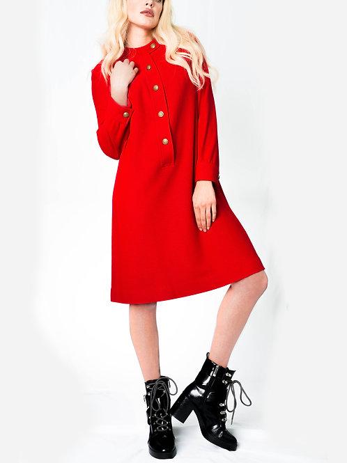 Red Winter Button Dress