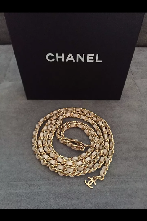 White CHANEL Logo Chain Belt