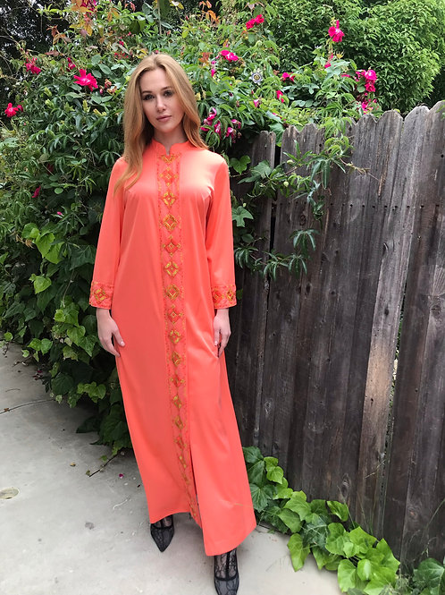 Embroidered Coral Maxi Kaftan