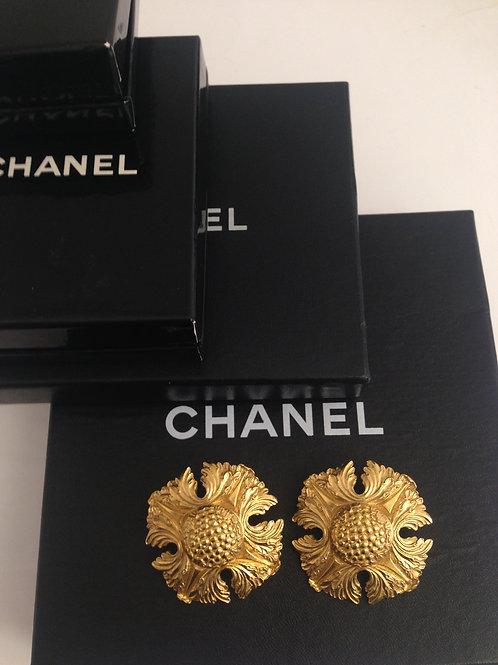 CHANEL Oversized Shield Earrings