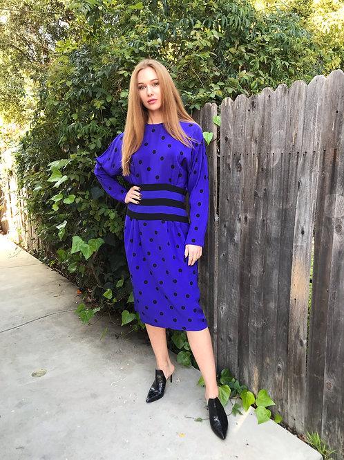SAKS Silk Royal Purple Polka Dot and Stripe