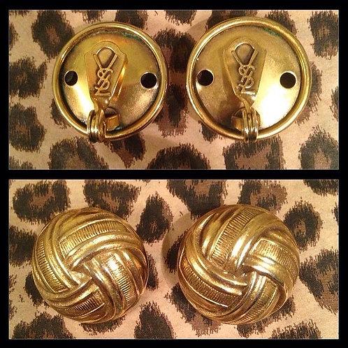 YSL Gold knot earrings