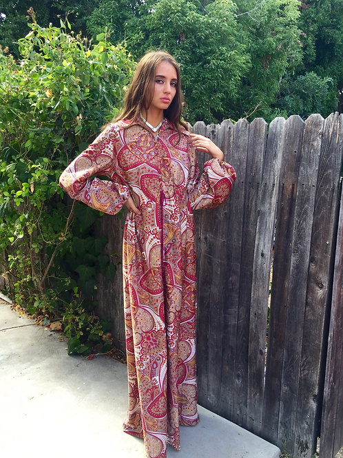 Wine Paisley Abstract Maxi Dress