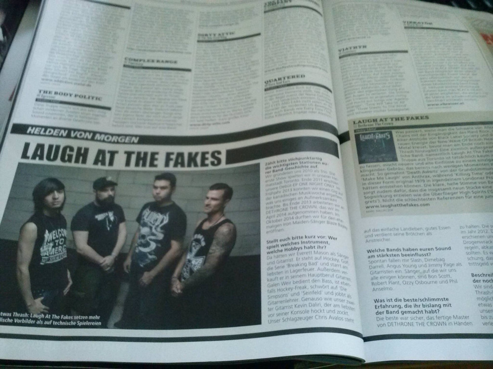 """This is super cool. We are featured in the legendary German Metal Magazine """"Metal Hammer"""""""