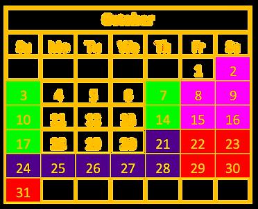 October Calendar for Frights'n Lights