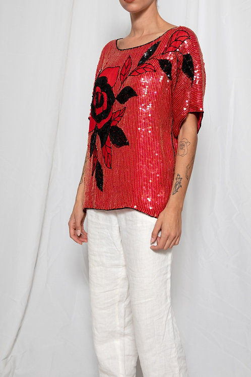 Red vintage sequined shirt
