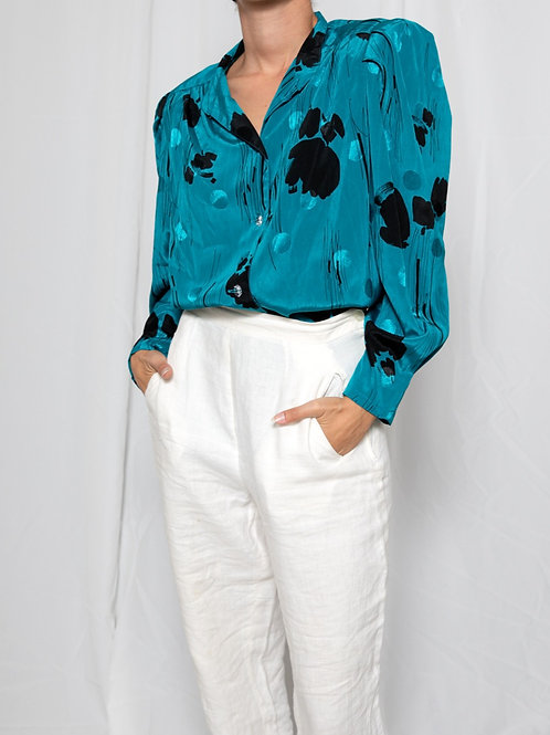 Satin turquoise shirt