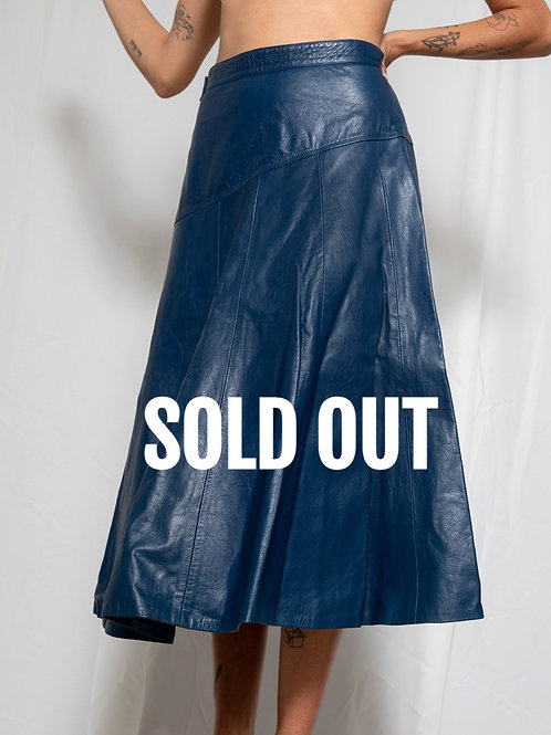 80s Dark- blue leather skirt