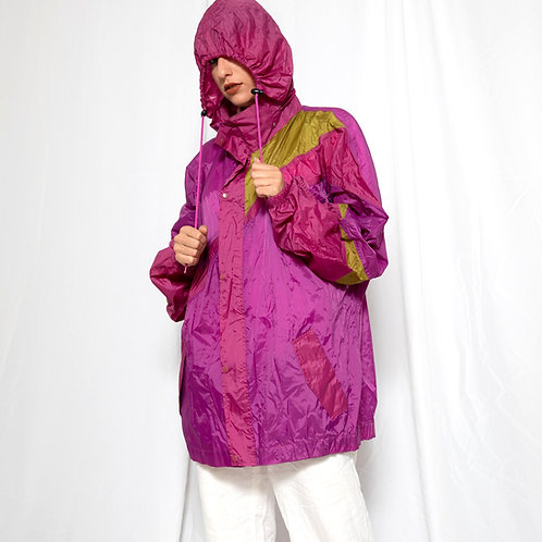 Purple funky rain coat