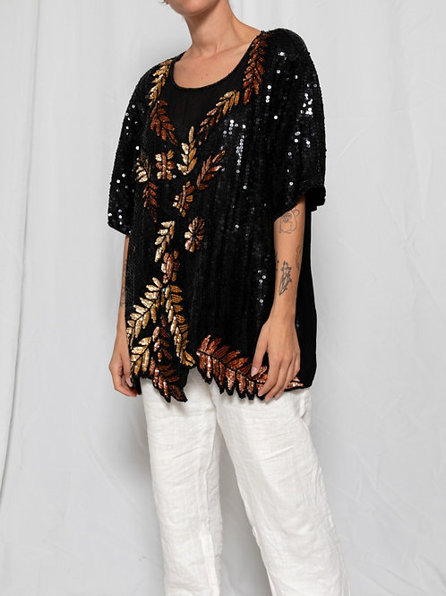 Black & gold sequined shirt