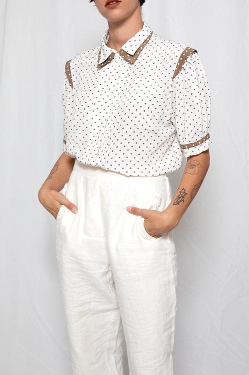 Brown & White polka dots shirt