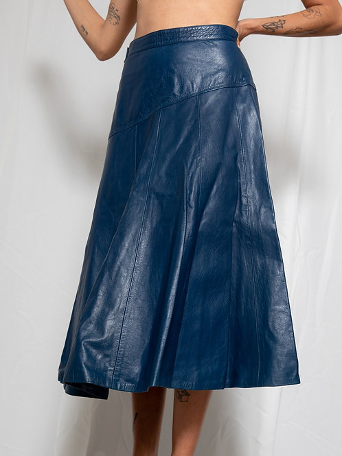 80s Dark- blue leather skirt