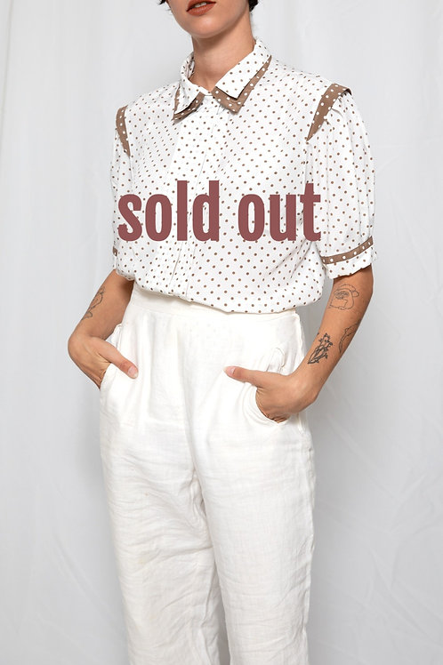 Brown & White polka dots shirt