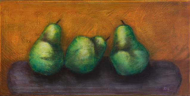 Three Pears on a Bench