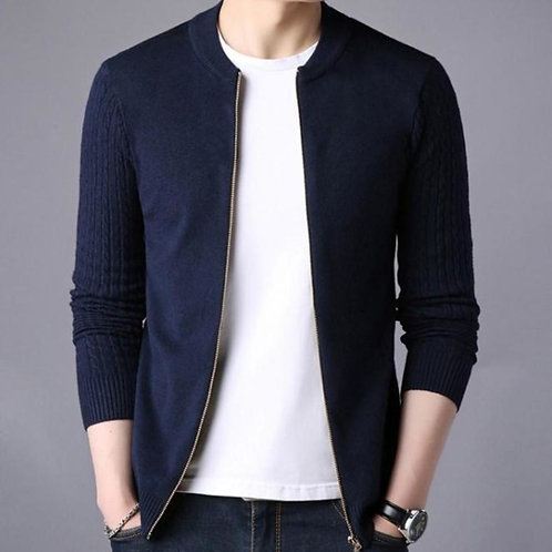 """Cool Cat"" Men's Cardigan Slim Fit Round Neck Zip Up"