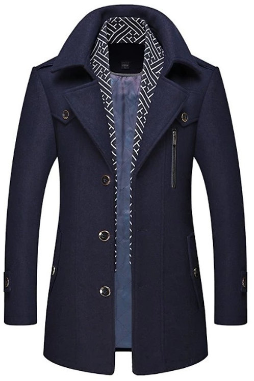 """Swag Out"" Mens Layered Collar Button Front Mid Length Coat"