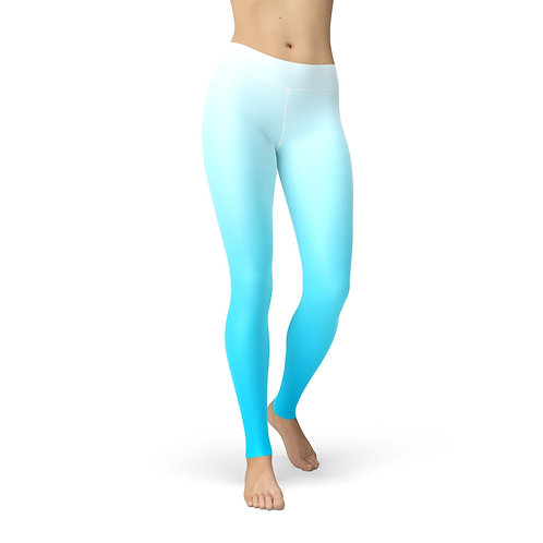 White Blue Ombre High Waisted Leggings/Tights