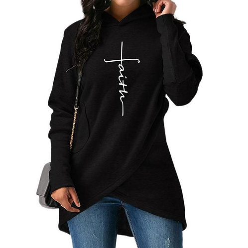 New Faith Print Hoodie for Women