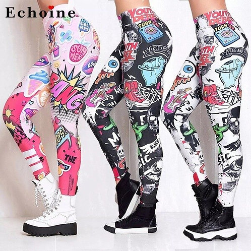 Women's Printed Tights/Leggings with Pocket