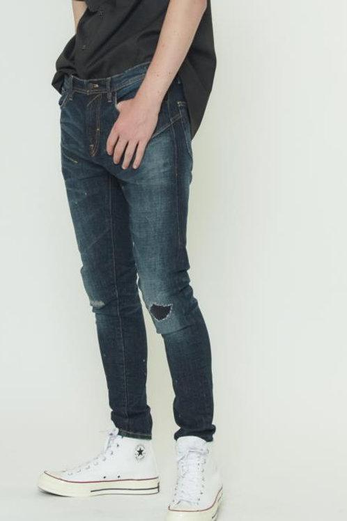 Konus Men's Skinny Jeans w/ Repair Work in Sky Blue