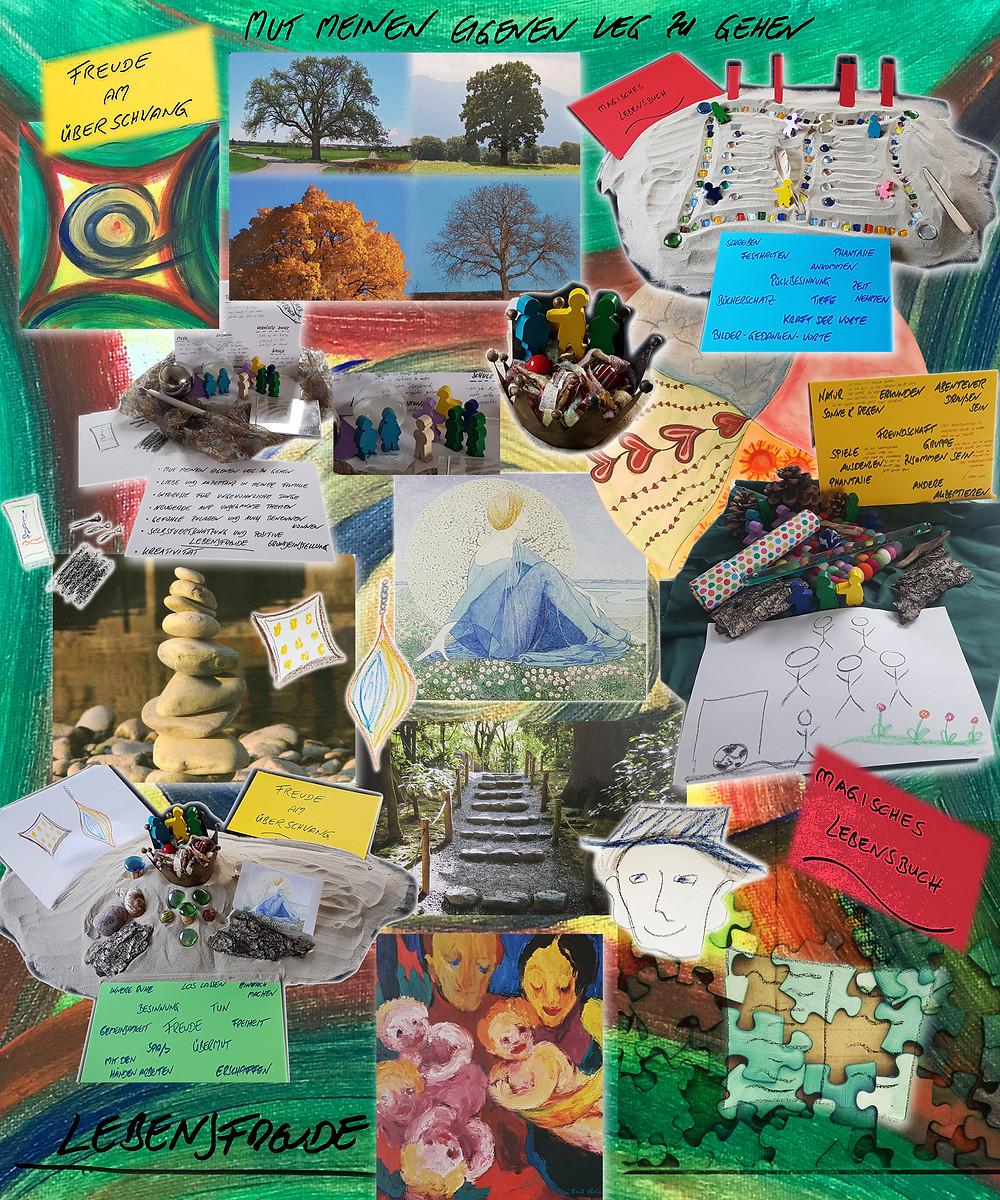 Collage aus verschiedenen Stationen einer Biographiearbeit mit unterschiedlichen Materialien.