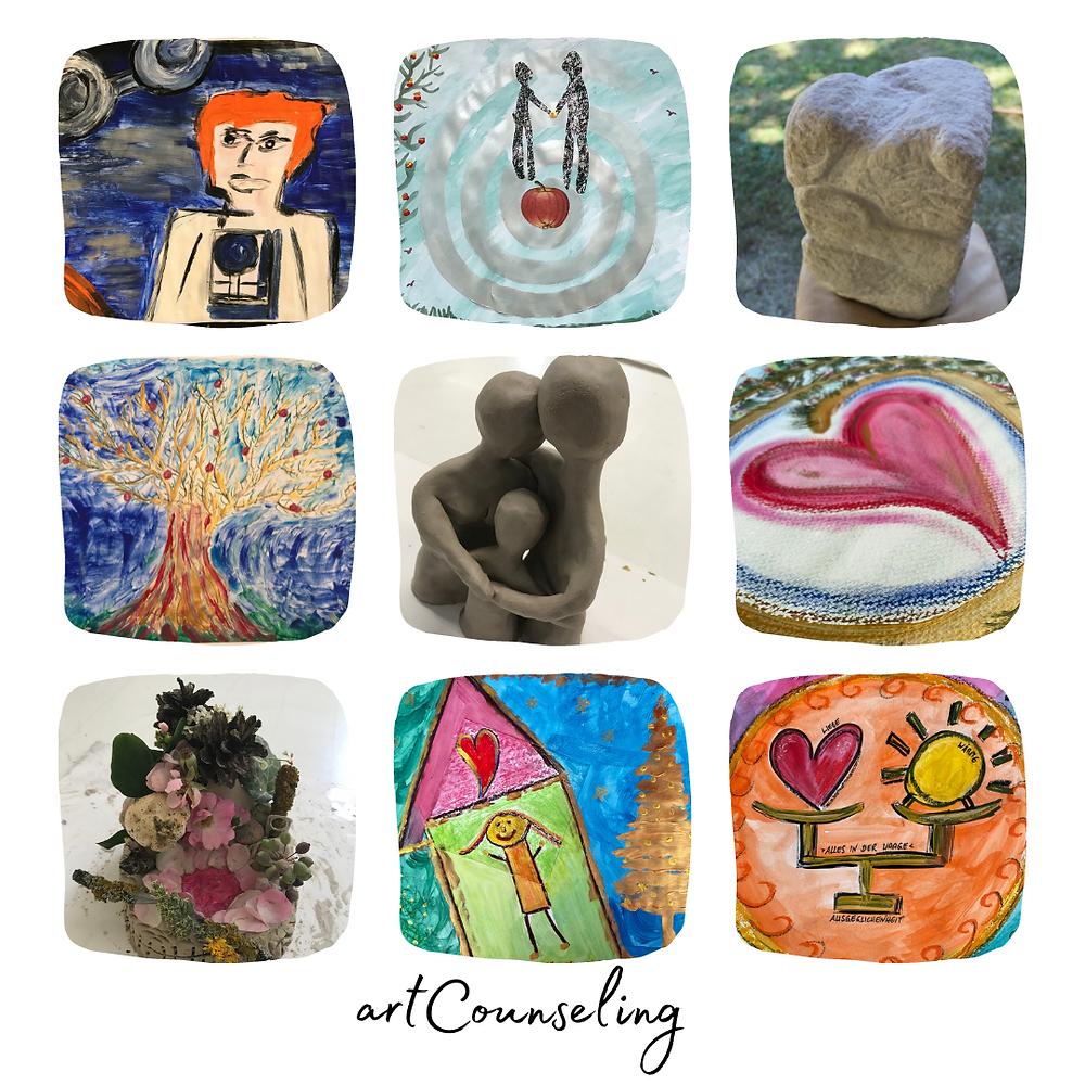 Von Malerei über Ton zu Steinbildhauen, die Möglichkeiten im artCounseling sind ohne Begrenzung.