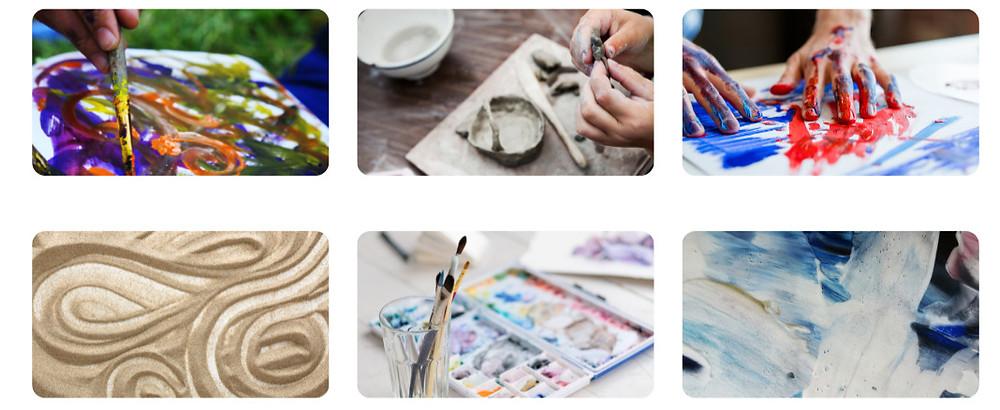 Malen, mit Ton arbeiten, Sandspiel, Farben, Fingermalerei, alles ist möglich.
