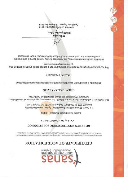 SANAS Certificate of Accreditation