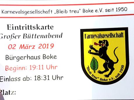 Karten für den großen Büttenabend der KG Bleib treu 2019!!!
