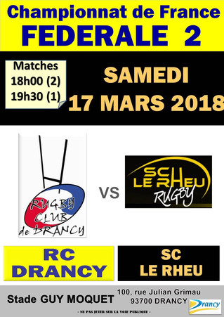 17/03/2018 - RC DRANCY reçoit LE RHEU