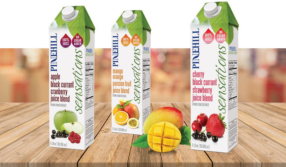 Pinehill Sensations Juice Packaging Design