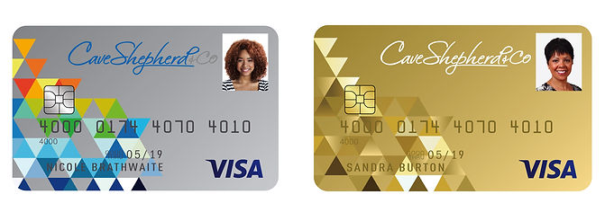 Cave Shepherd and Co Visa Credit Card Designs; Classic & Gold