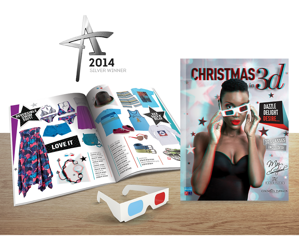 "Catalogue Cover and spread from ""Christmas in 3d"" Campaign which won a Silver Caribbean Addy in 2014"