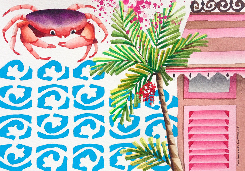 Watercolour of a crab, breeze blocks, palm tree and chattle house awning and shutters.