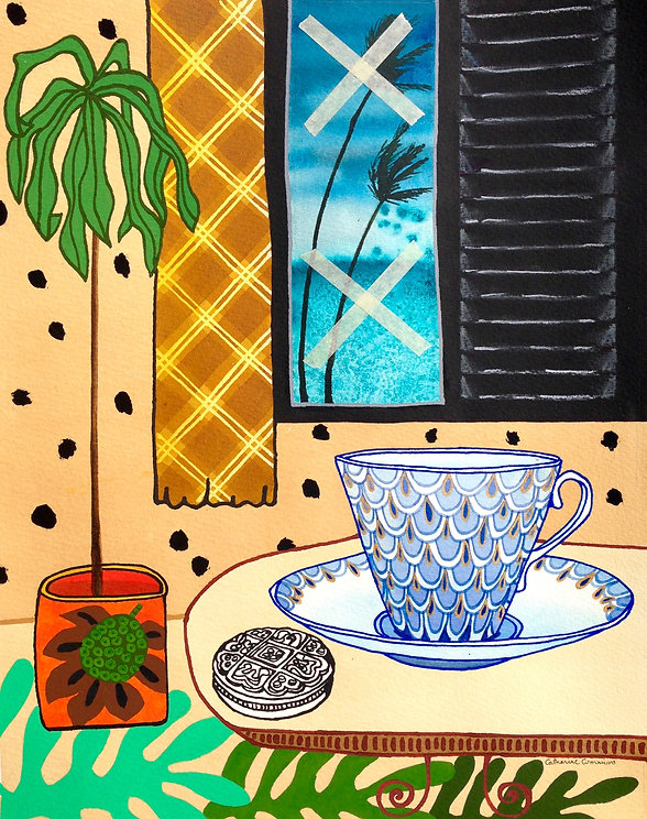 """Original painting titled """"Teacup in a Storm"""" by Catherine Cummins, Caribbean artist and illustrator"""