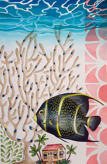Original Painting of Tropical Angel Fish and chattel house by Barbadian artist and illustrator Catharine Cummins