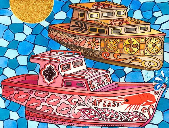 Boats Panting Mosaic Barbados Cathy Cummins