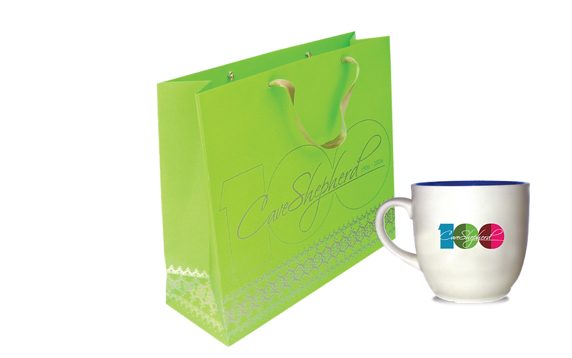 Commemorative Shopping bag and Coffee Mug for Cave Shepherd's 100th Anniversary depicting Anniversary logo