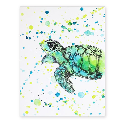 SEA TURTLE SPLATTER INK