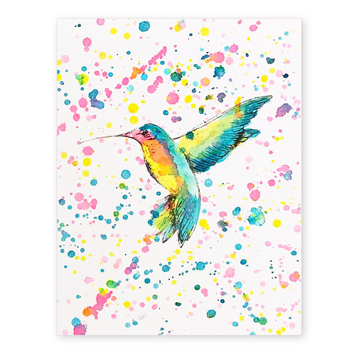 HUMMING BIRD SPLATTER INK