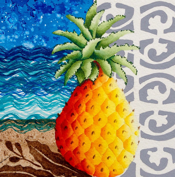Tropical Pineapple illustration paiting by Cathy Cummins with Breeze Block motif