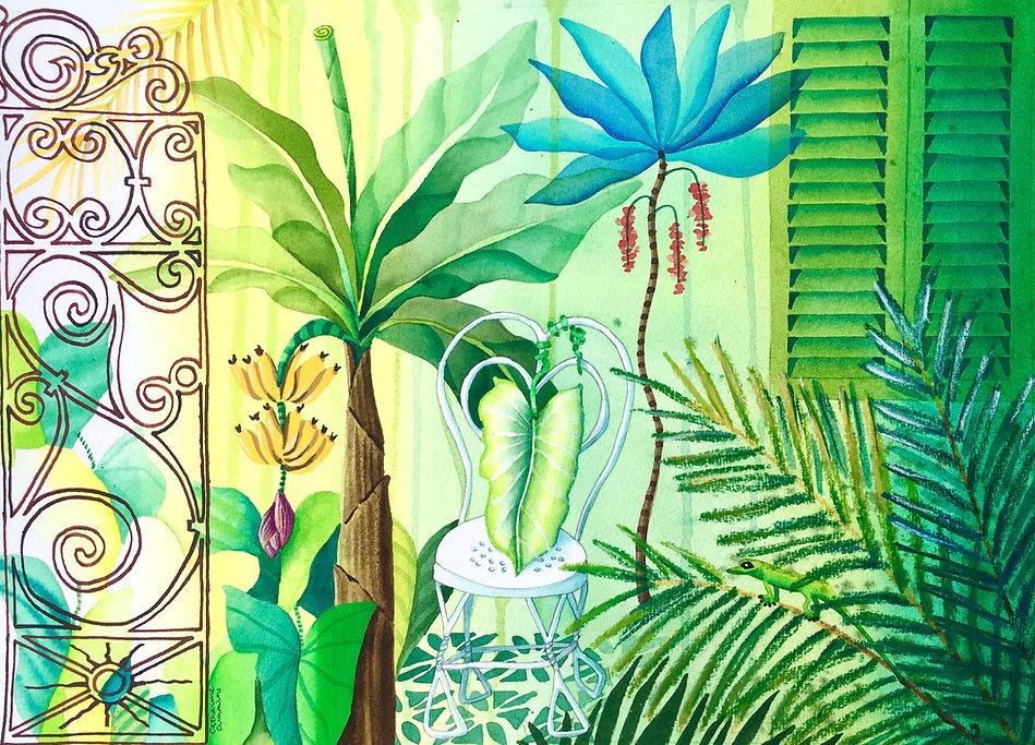 "Original Painting ""Hidden Garden"" by Barbadian artist Catharine Cummins"