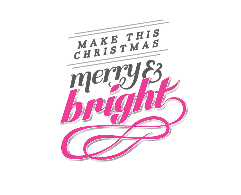 "Calligraphic Title reads ""Make this Christmas Merry & Bright"""