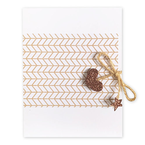 GEO BROWN GLITTER HEART TWINE